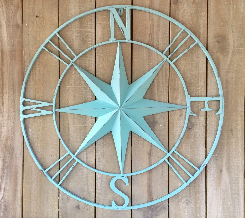 aqua distressed large metal wall art compass nautical on metal wall art id=49490