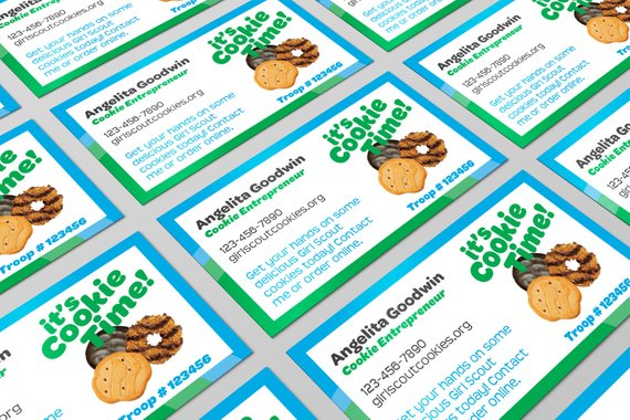 Girl Scout Cookie Seller Business Cards Pdf Template Etsy Girl Scout Cookies Girl Scout Cookie Sales Girl Scouts