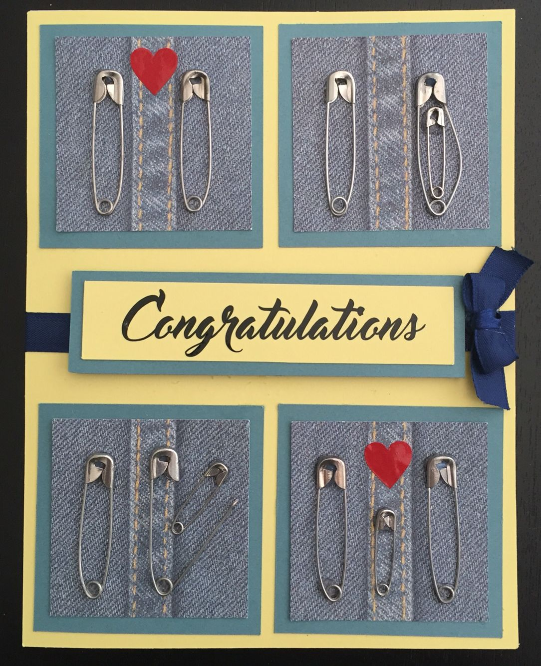 Baby Congratulation Card Using Safety Pins