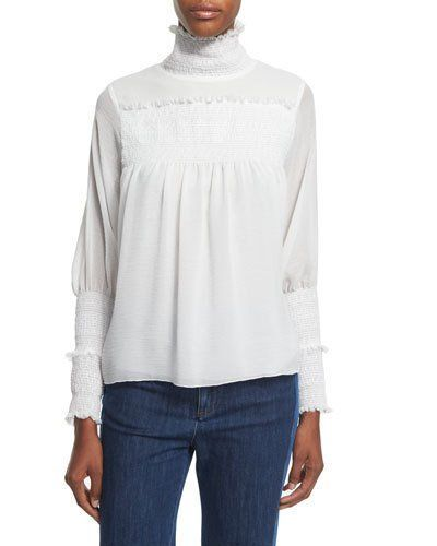 048d85d77df0c Embroidered Ruffle-Trim Top Off White   Products   High neck blouse ...