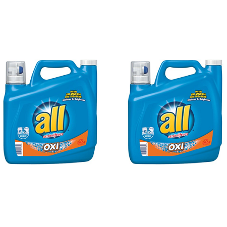2 Pack All Liquid Laundry Detergent With Oxi Stain Removers And