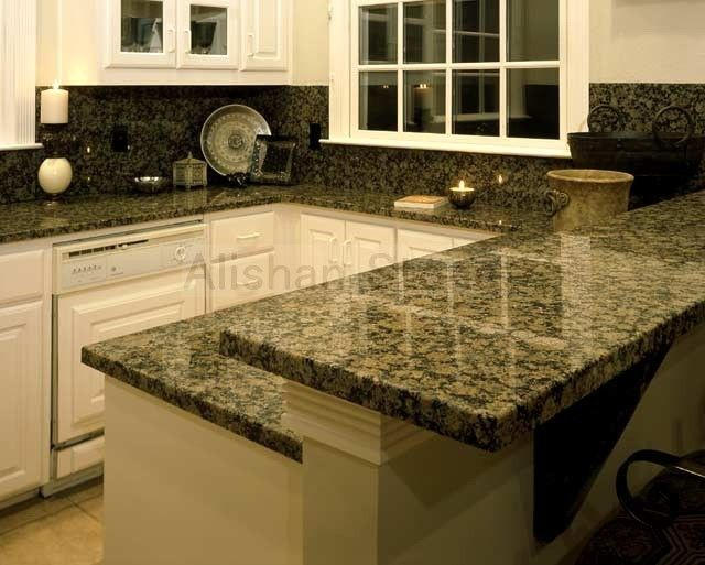 Baltic Brown Countertops With White Cabinets Kitchen