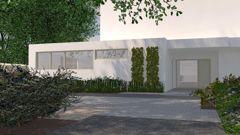 Parkeren In Voortuin : Strakke voortuin met parkeren tuinontwerp in d