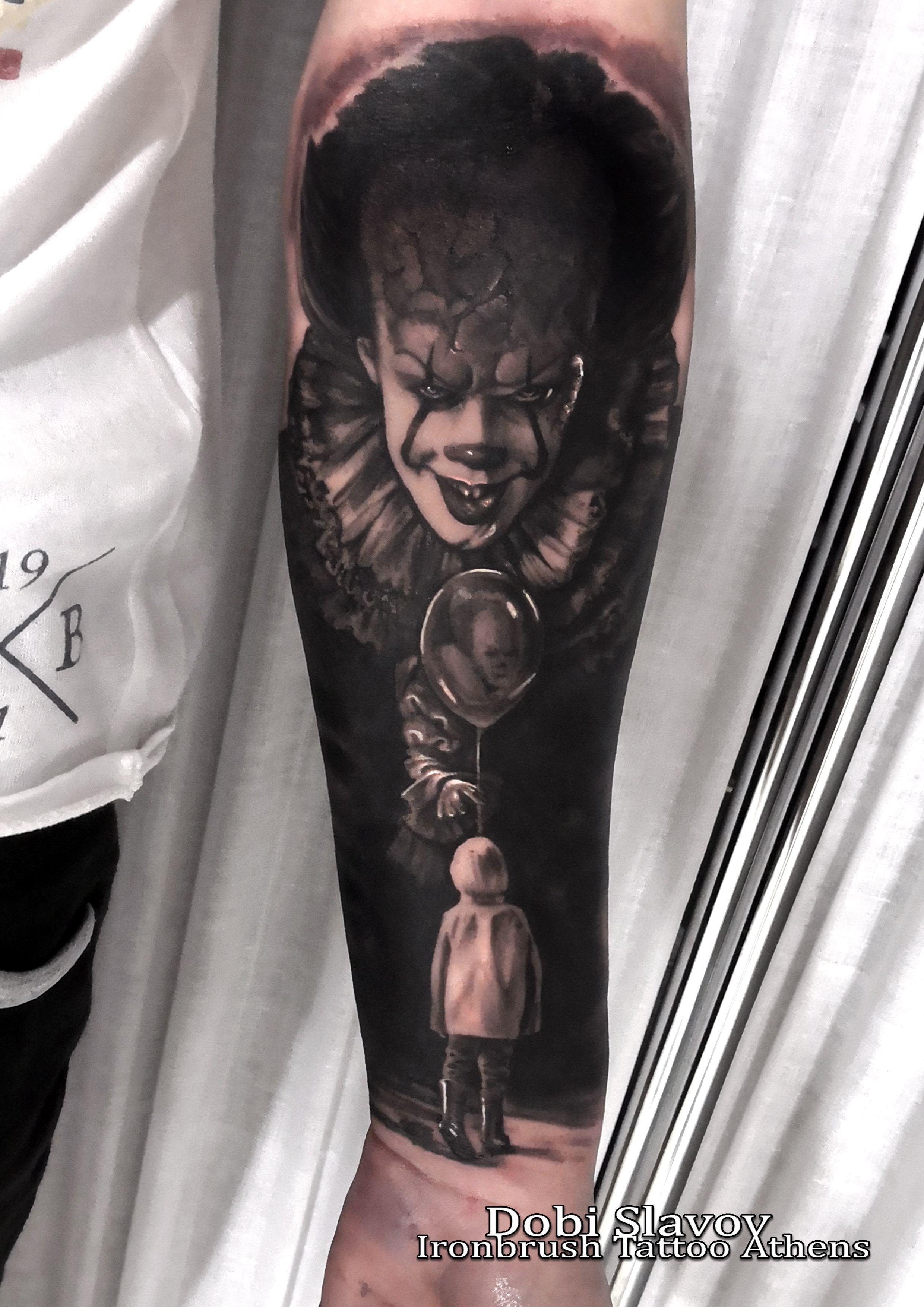 It Tattoo By Dobi Slavov Pennywise Tattoo Movie Tattoos Creepy Tattoos