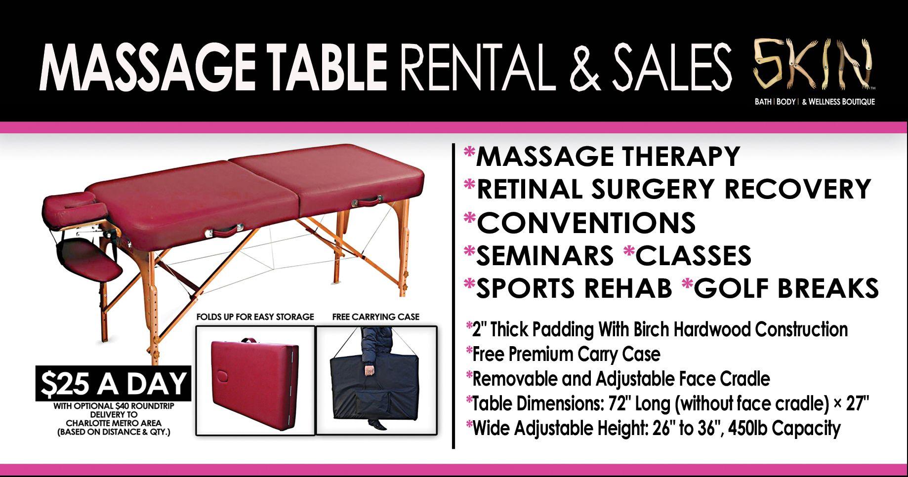 MASSAGE TABLE RENTAL CHARLOTTE $25 A DAY. Email: skincharlotte@gmail for more details or visit http://www.skinwellnessboutique.com/