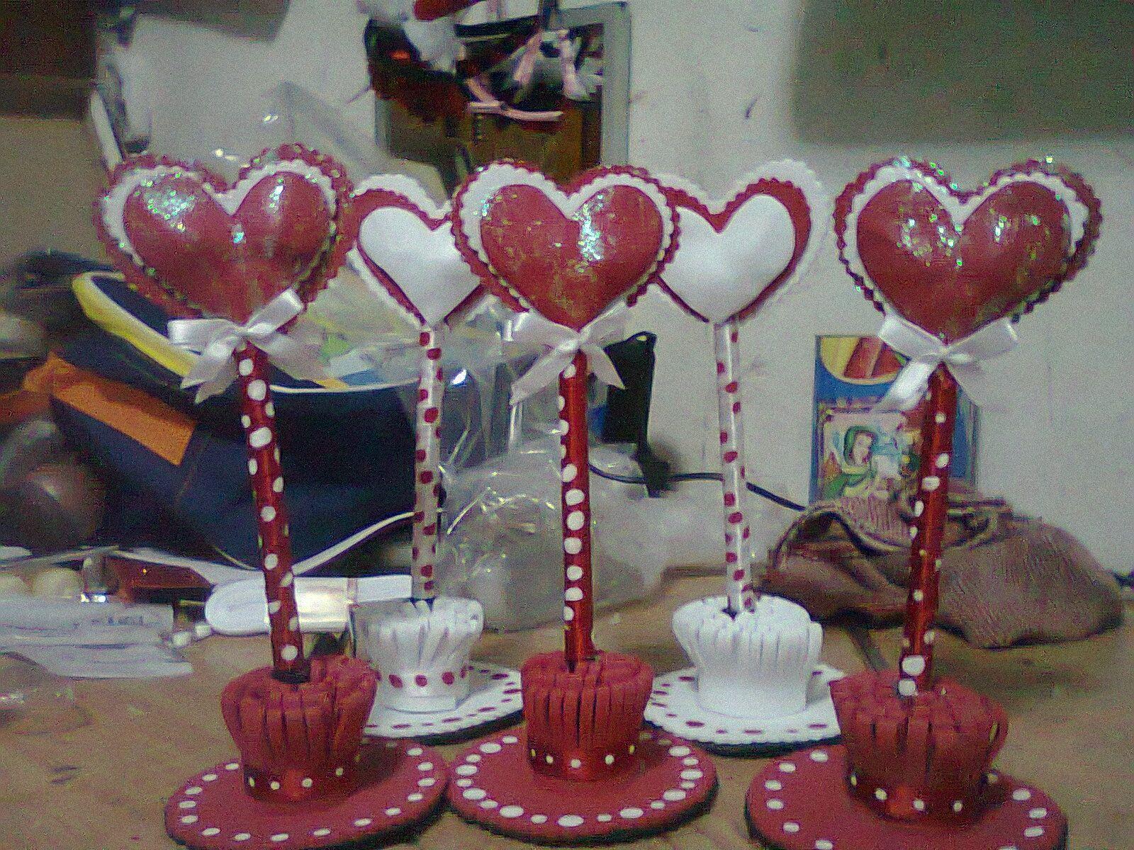 Lapiceros del dia del amor y de la amistad hechas con - Decoraciones para san valentin ...