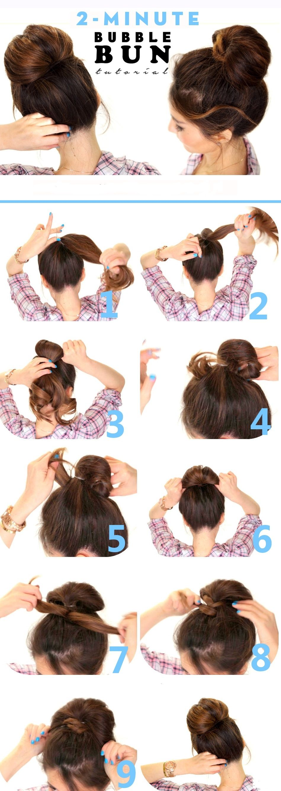Bubble bun hairstyle step by step quotes pinterest bun