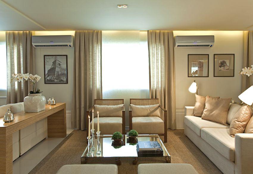 Decoracao sala de estar, forro de gesso com ilumincao, cortina ...