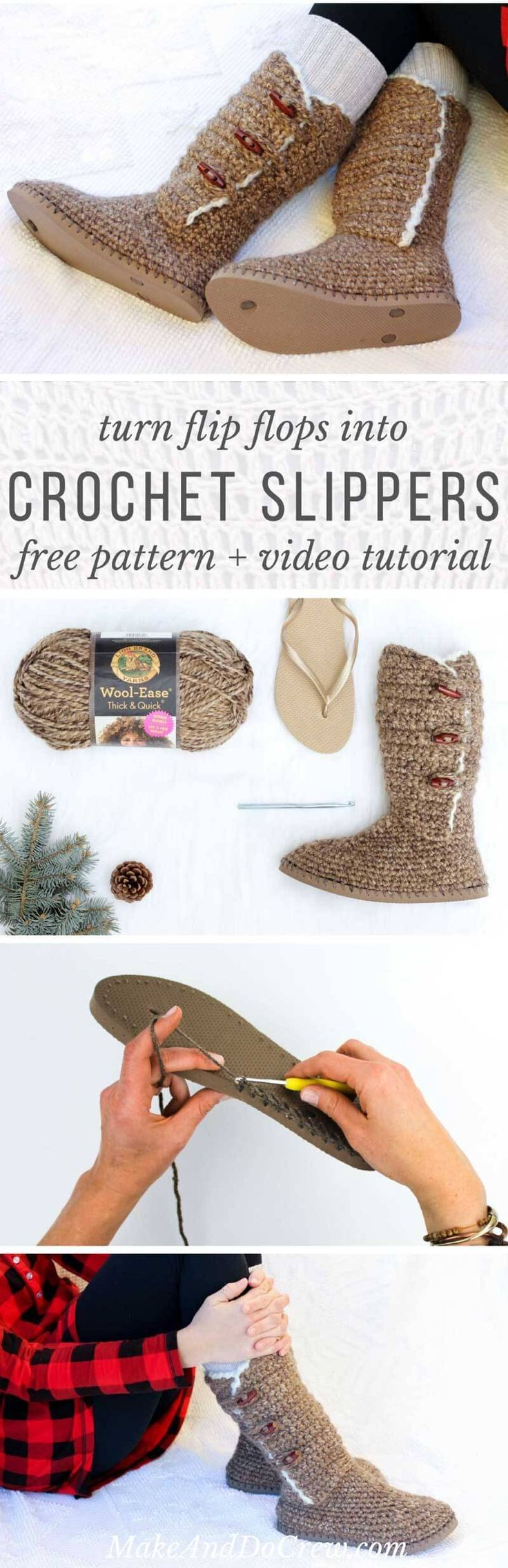UGG-Style Free Crochet Boots Pattern Using Flip Flops | Pinterest ...