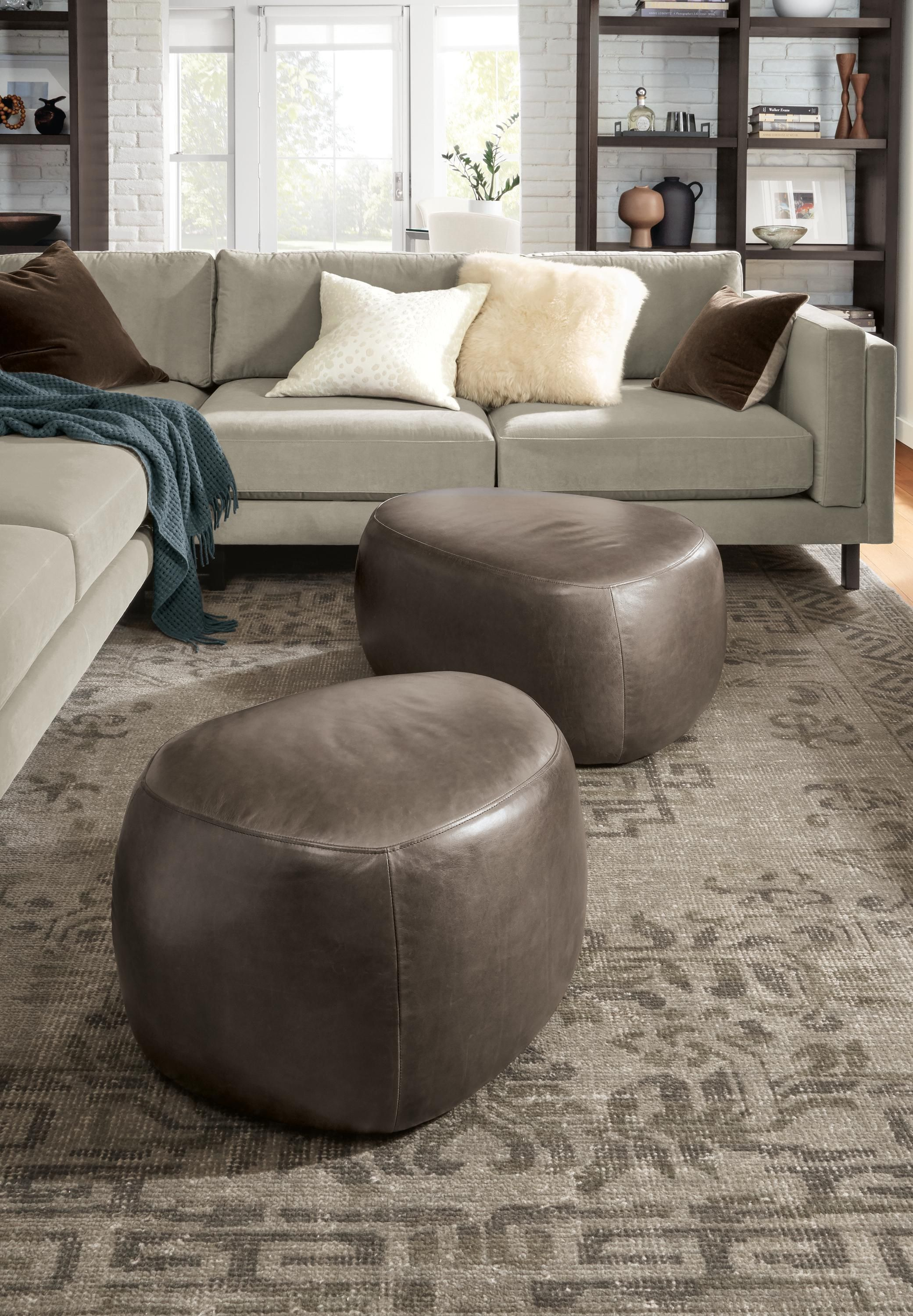 Asher leather ottomans modern ottomans footstools