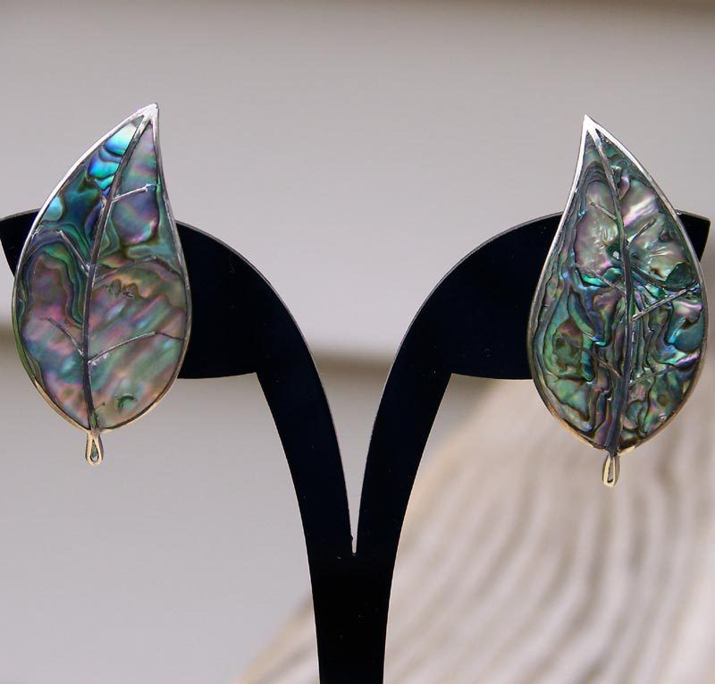 Sterling Silver Abalone Leaf Screw Back Earrings Made in Mexico      http://www.rubylane.com/item/494613-aj284-bg3443/Sterling-Silver-Abalone-Leaf-Screw
