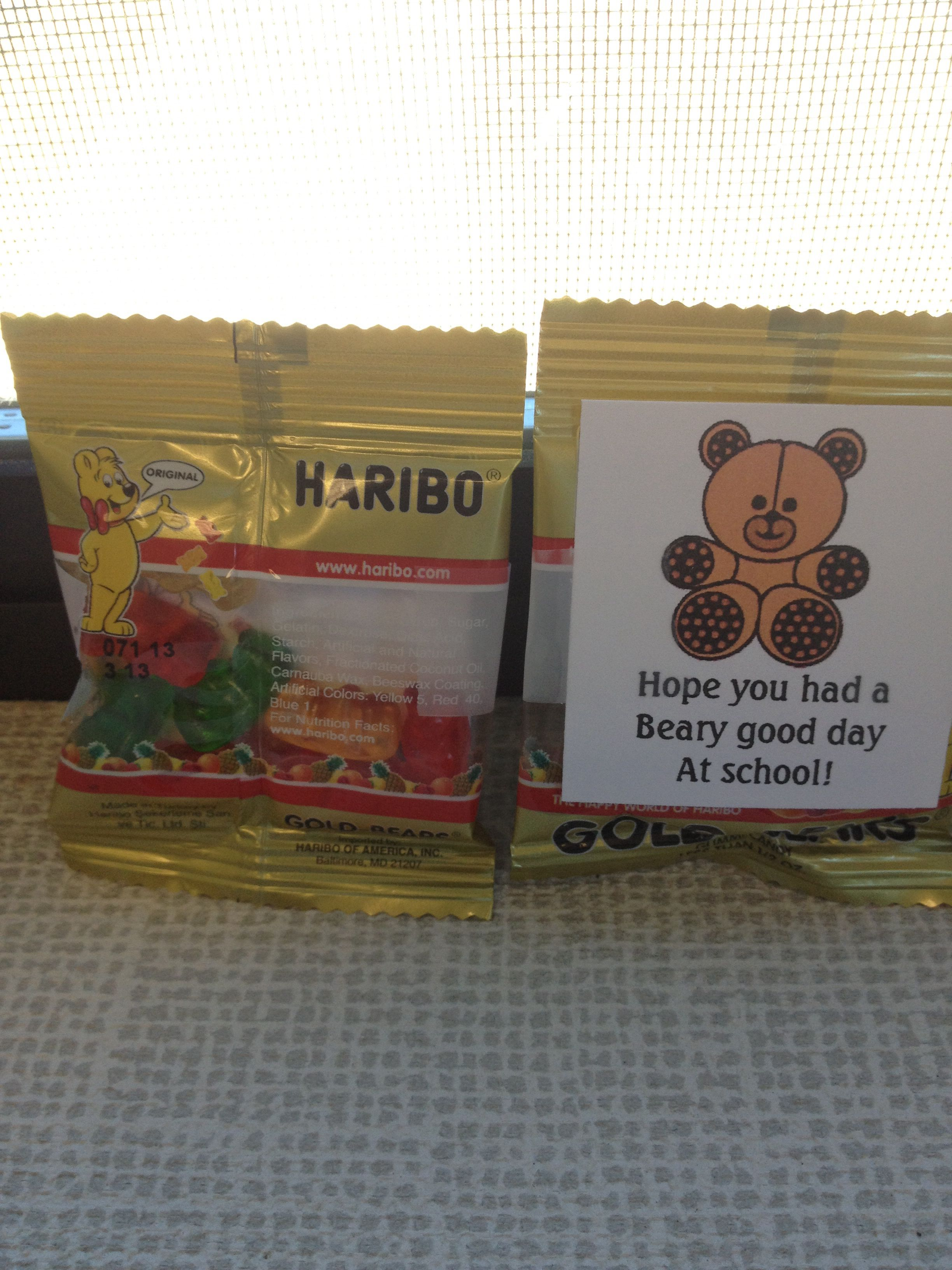 Back To School Goo S Gummy Bears And Note Hope You Had