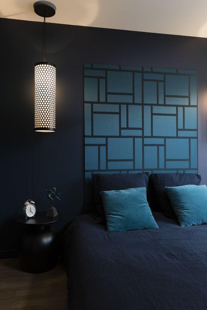 chambre bleue nuit masculine elodie sagot architecte d int rieur paris d coratrice paris. Black Bedroom Furniture Sets. Home Design Ideas