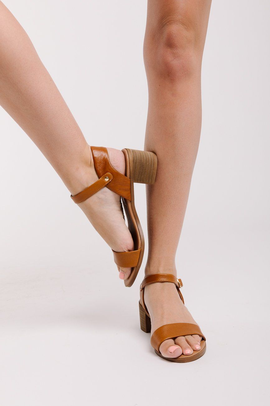 f73ede8feab Steve Madden  April Chunky Heel Sandal in Cognac Leather