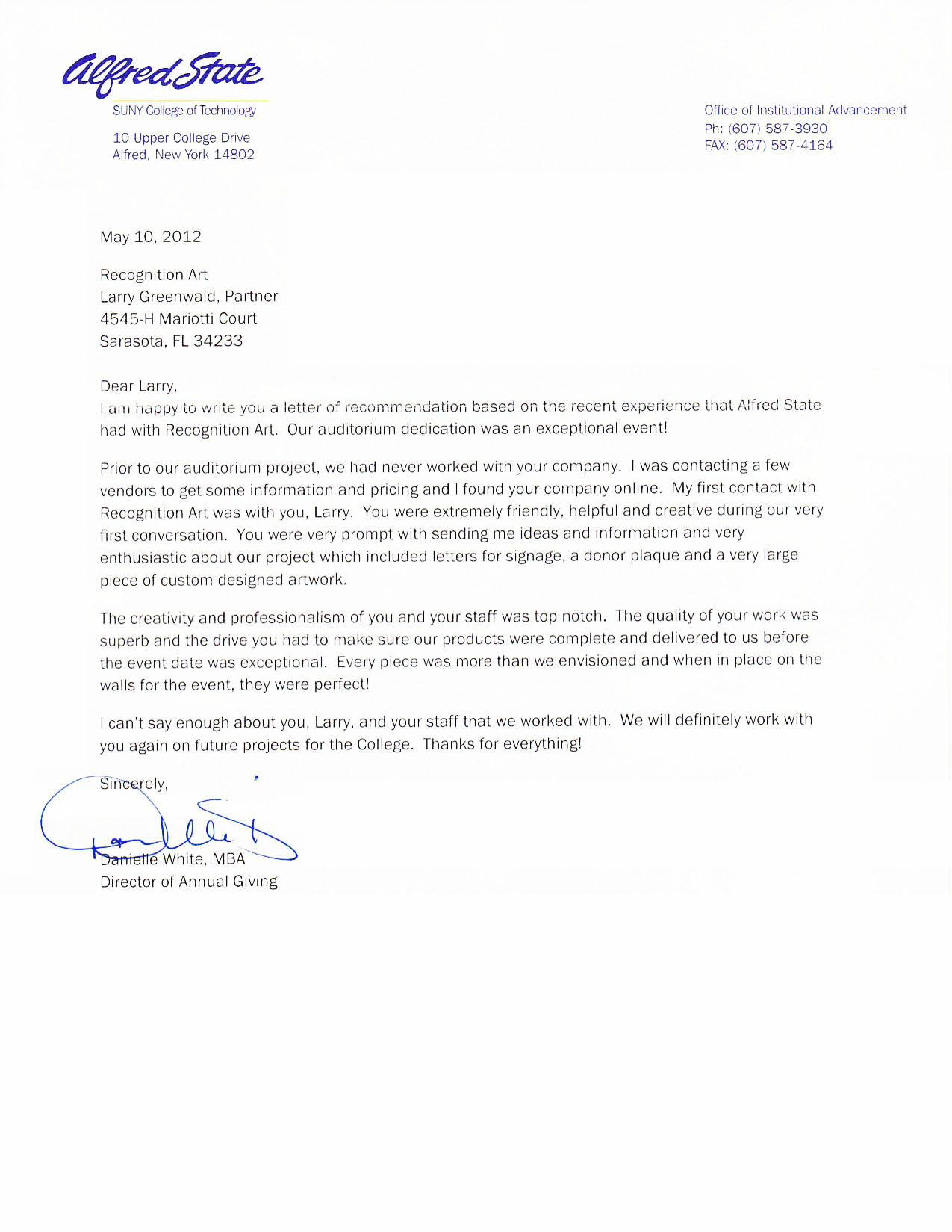 Letter Of Recommendation Alfred State Donordisplay