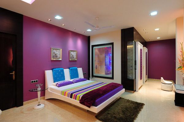 Modern Bedroom Design With Cream Pink Wall Color Decoration And