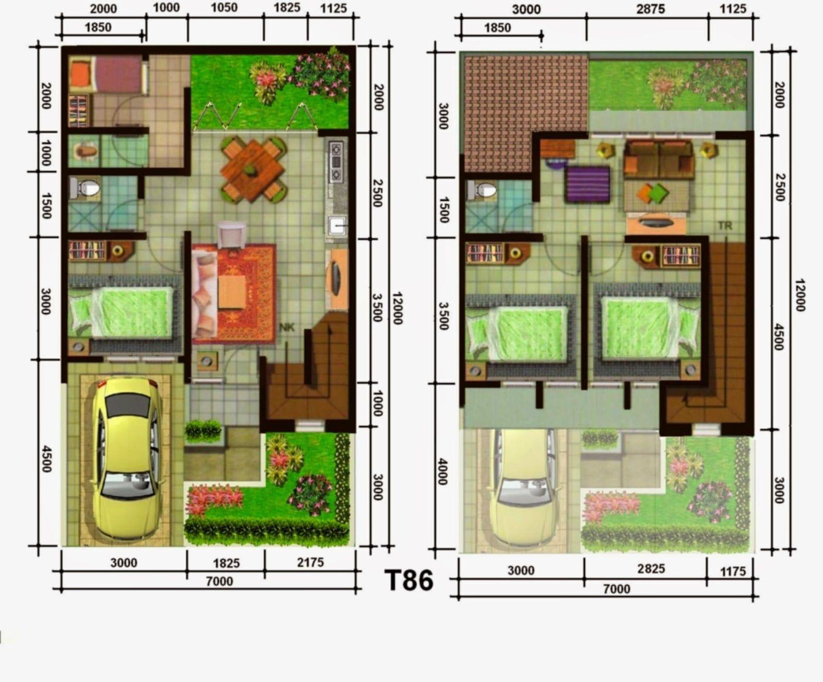 desain rumah 3 kamar 7x11