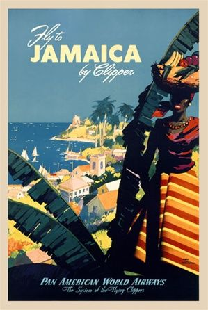 Fly Jamaica Pan Am 1948 America USA - Beautiful Vintage Poster Reproduction. This vertical American travel poster features a Jamaican woman ...