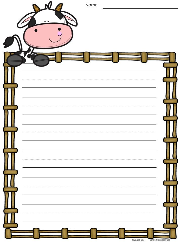 farm border writing paper