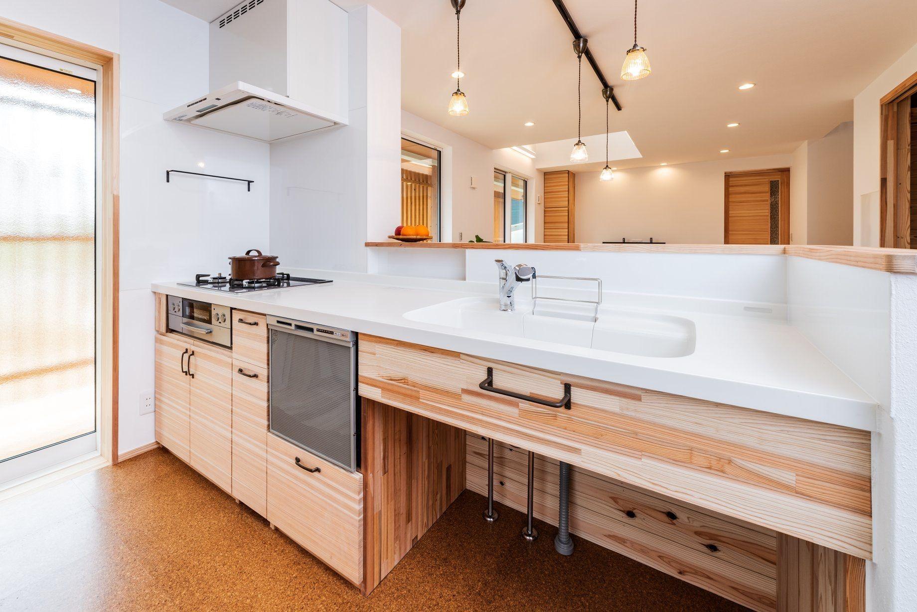 人大の造作キッチン 福岡 飯塚で注文住宅を手がける三宅建築工房 造作キッチン キッチン システムキッチン