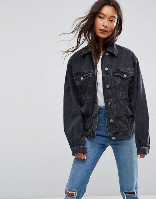 Asos Design Denim Girlfriend Jacket In Washed Black Asos Black Denim Jacket Outfit Black Denim Jacket Oversized Black Denim Jacket