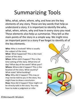 Summarizing Worksheets Writing Activities NO PREP Reading Literacy ...