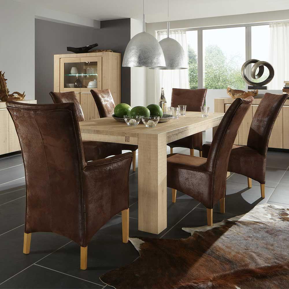 Esszimmertisch aus Wildeiche Massivholz hell holztisch ...