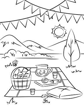 Ausmalbild Fruhling Picknick Im Grunen Sommer Malvorlagen Ausmalbilder Fruhling Malvorlagen Fur Kinder