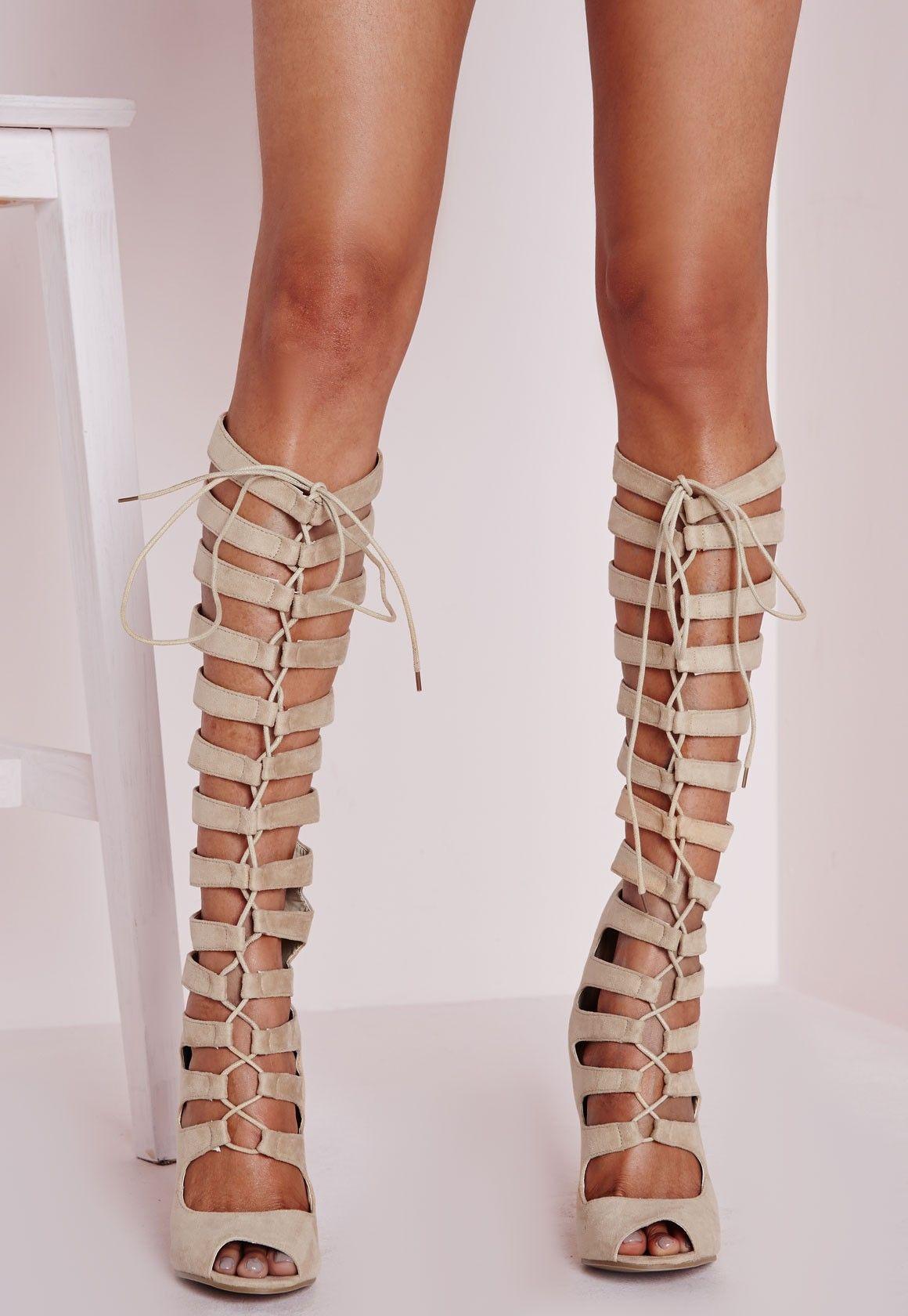 Missguided - Heeled Knee High Gladiator Sandal Cream