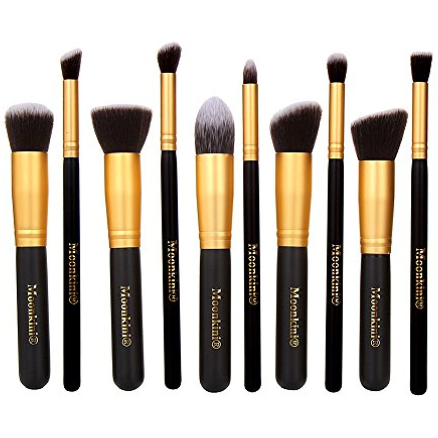 Moonkini 10 pcs Premium Synthetic Kabuki Makeup Brush Set