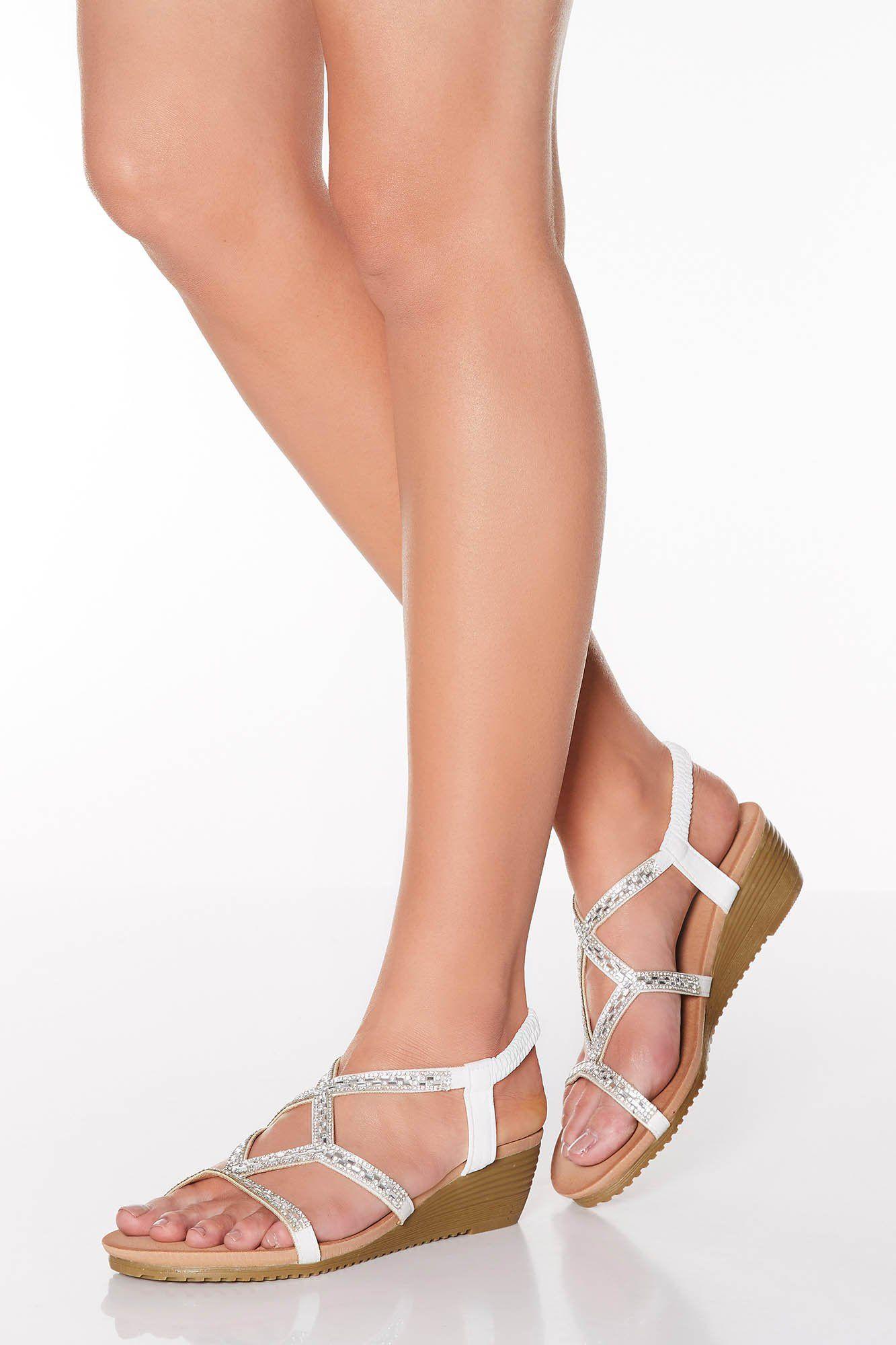 Quiz White Diamante Strappy Low Heel Wedges With Images Low Heel Wedges Low Heels Wedge Heels