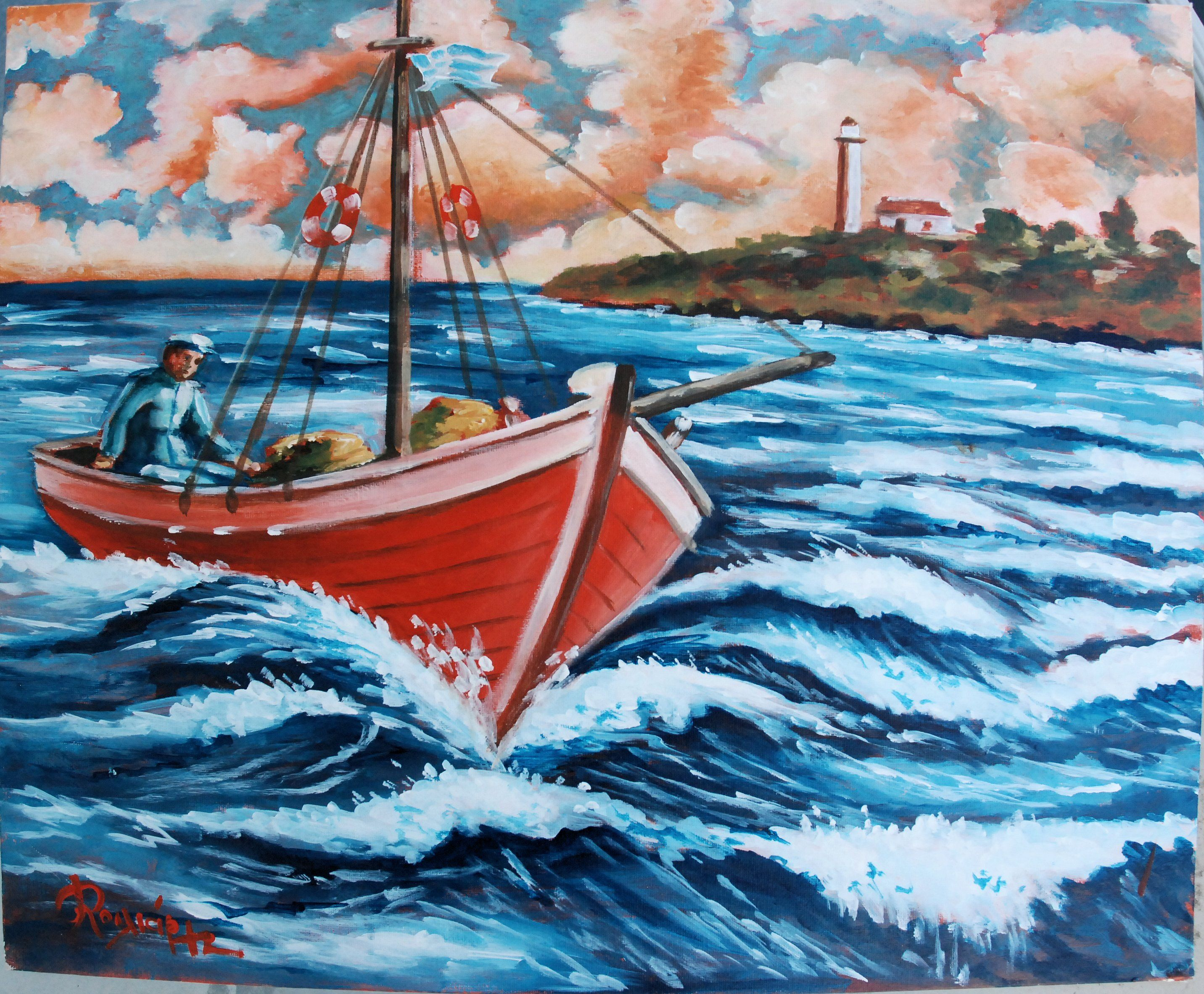 Fisherman N Boat Acrylic On Canvas Painting Canvas Art