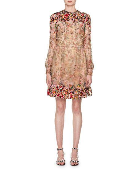Valentino Long-Sleeve Heavily Beaded Embroidered Tulle