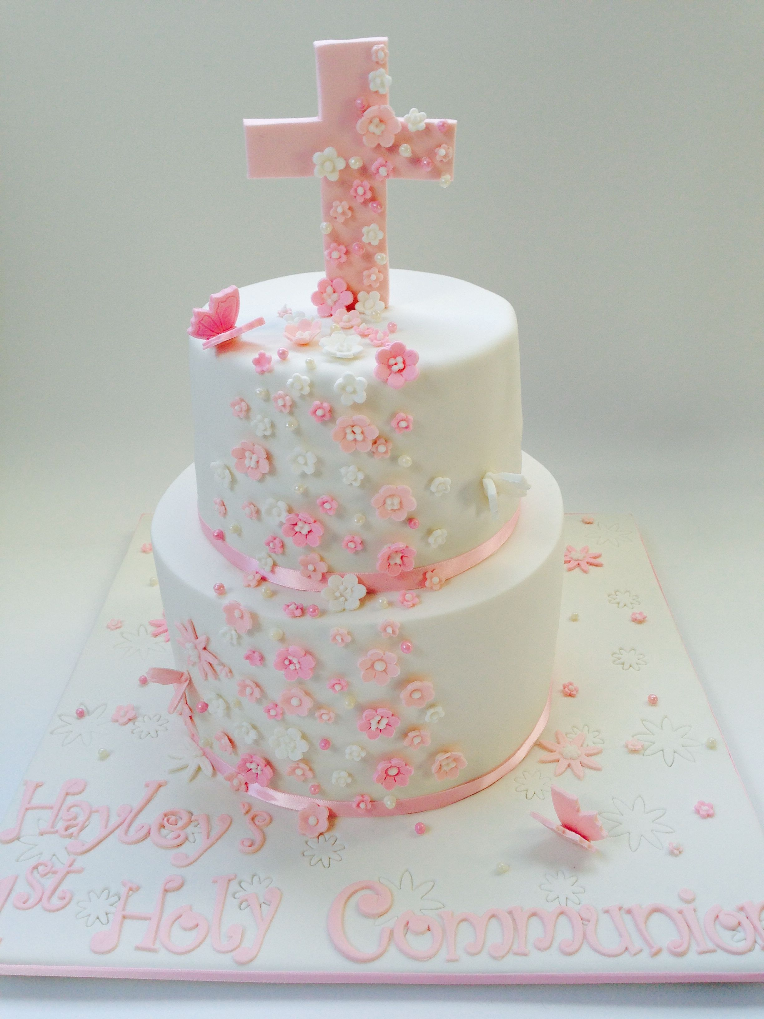 Girlie Communion Cake Cake By Mimissweettreats Communion Cakes