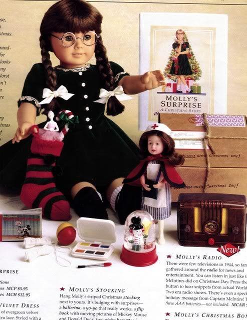 AMERICAN GIRL MOLLY PUFFY~BUBBLE STICKER CHRISTMAS EVERGREEN VELVET DRESS!