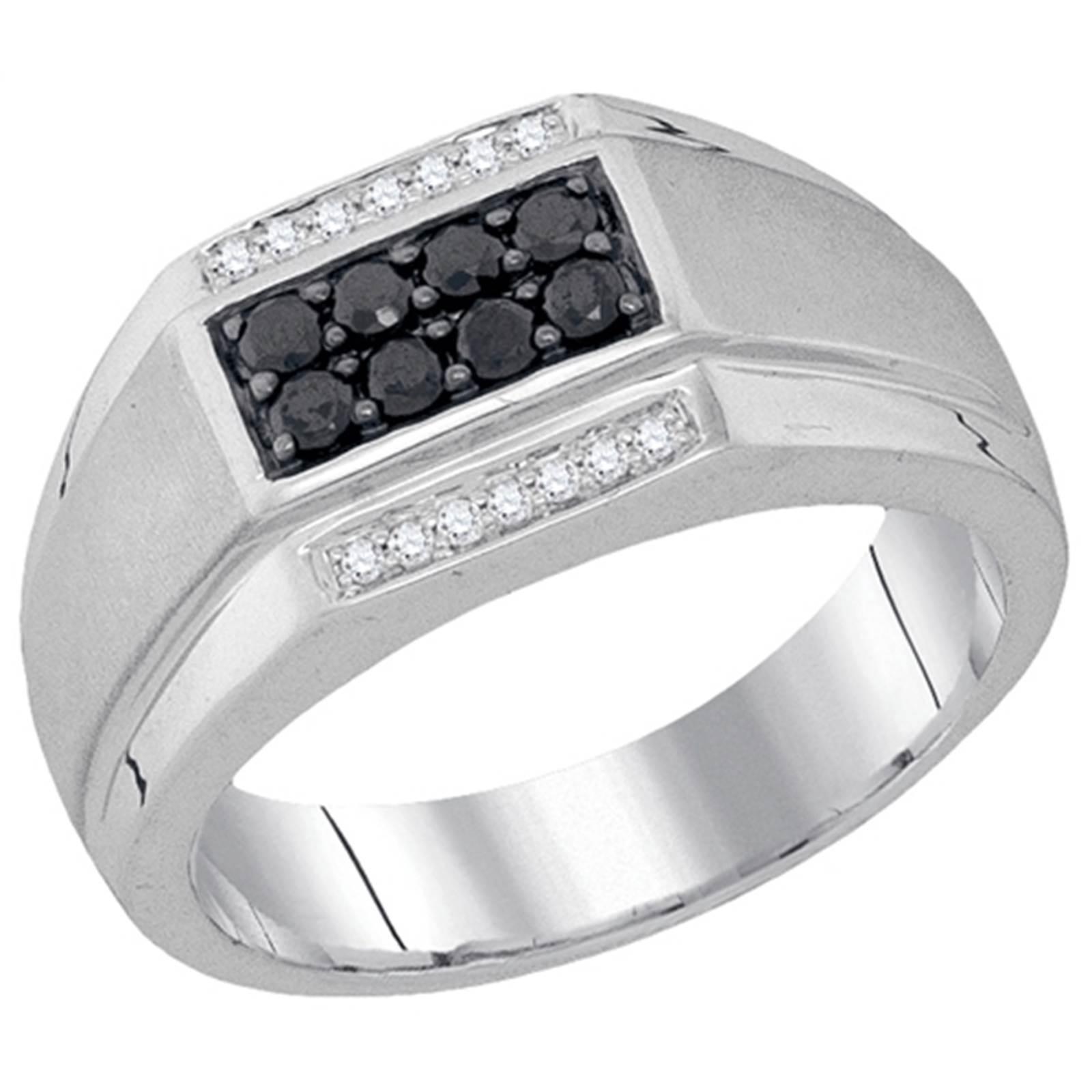 Mens 10k White Gold Black Diamond Engagement Wedding Ring