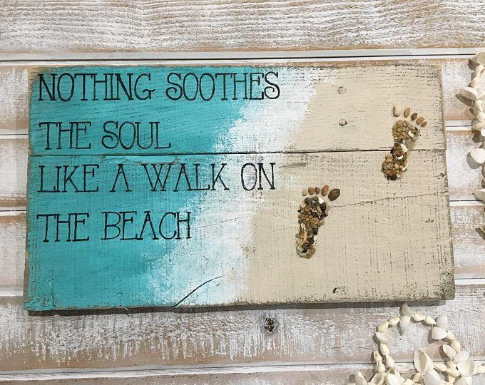 Beach Signs Decor Pallet Sign Walk Reclaimed Wood