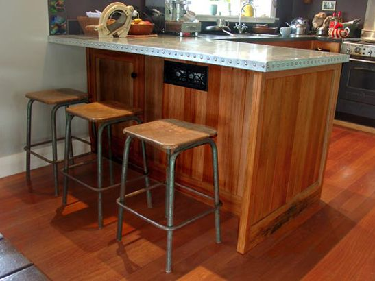 Native Rimu Steampunk Style Kitchen Bar Furniture With Riveted Zinc Bench To