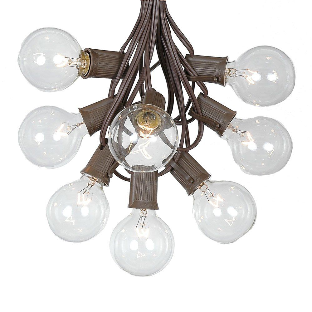 G50 String Lights with 125 Clear Globe Bulbs - Outdoor Globe Light Strings - Market Bistro Café Hanging String Lights - Party Patio Garden Umbrella Globe Lights - Brown Wire - 100 Foot