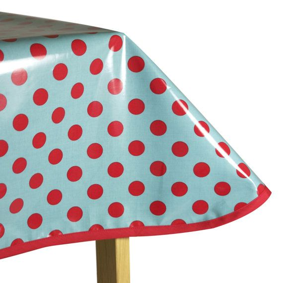 laminated cotton oilcloth tablecloth red polka dots on aqua by riley blake pick your size. Black Bedroom Furniture Sets. Home Design Ideas