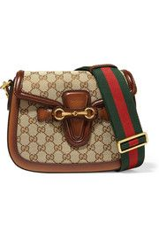 Gucci Lady Web medium leather-trimmed coated canvas shoulder bag