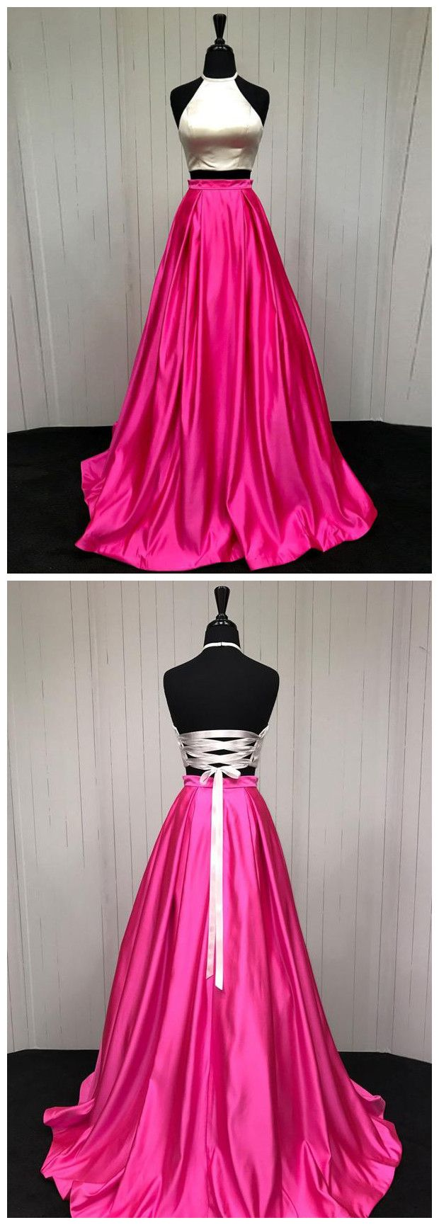 Two pieces prom dresses aline halter simple long prom dressevening