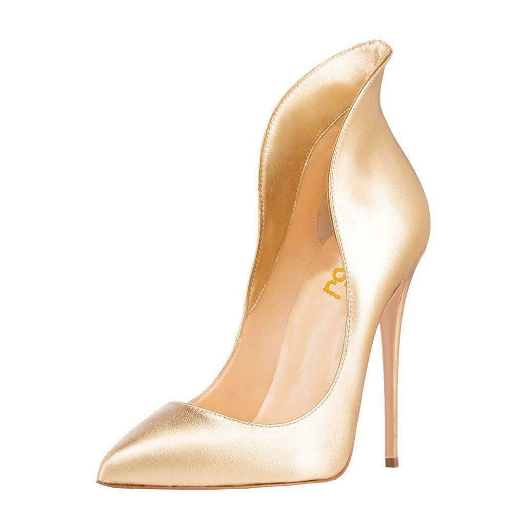 Fsj tammy gold high upper pumps chic fashion prom shoes elegant