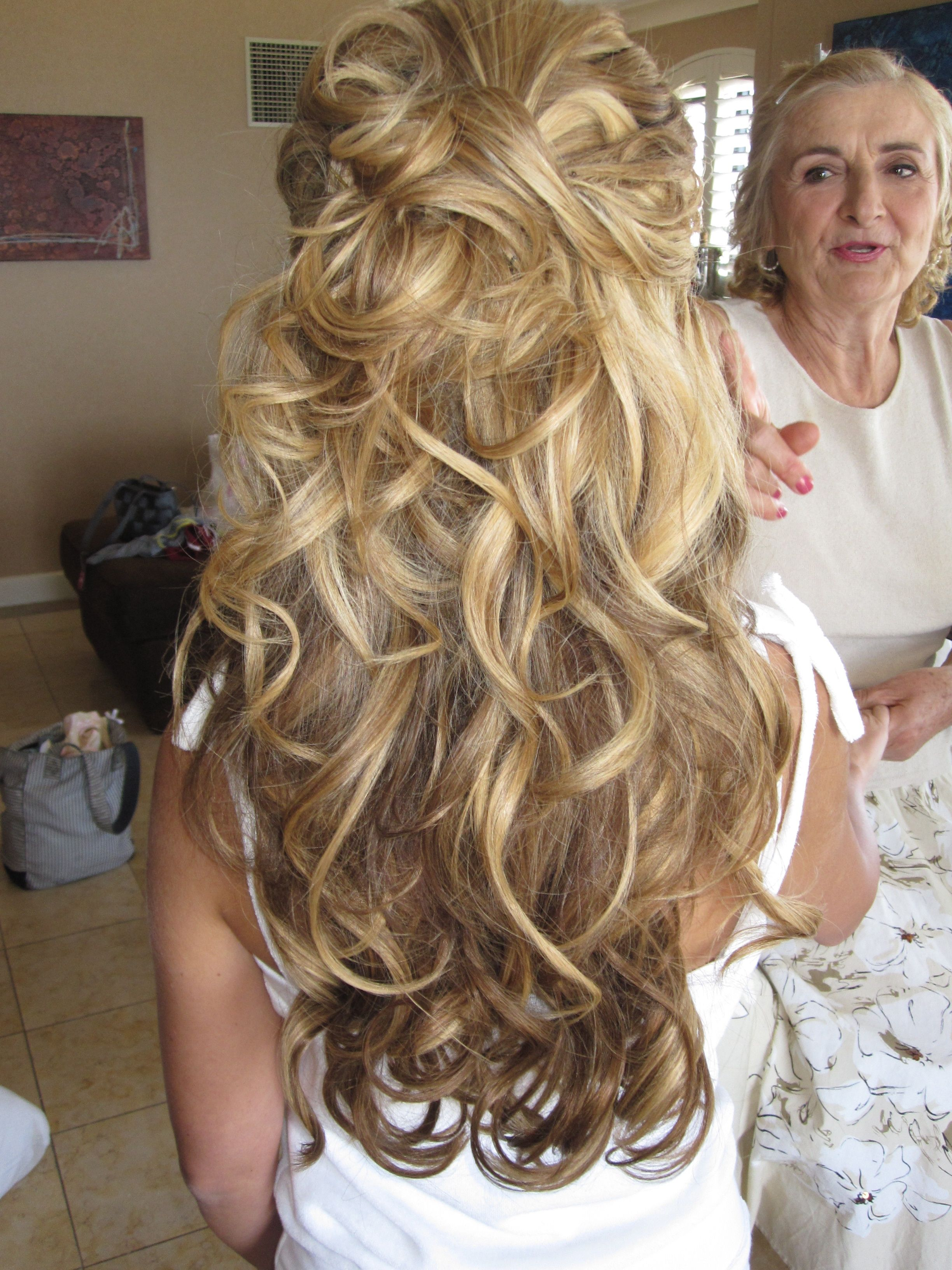 1/2 up 1/2 down by flawlessfacesinc bride, bridal hair