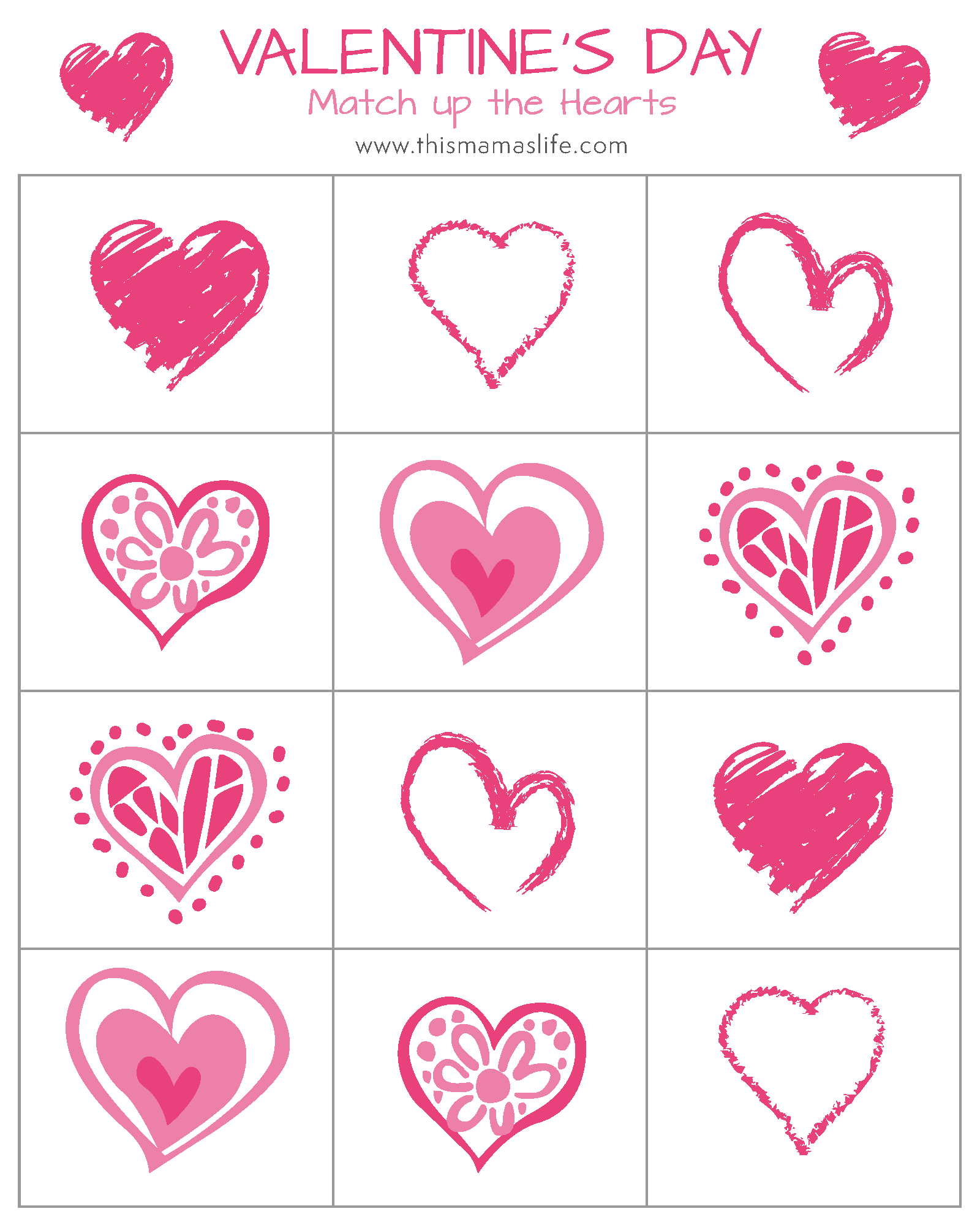 Free Printable Valentine S Day Counting Hearts Match Up