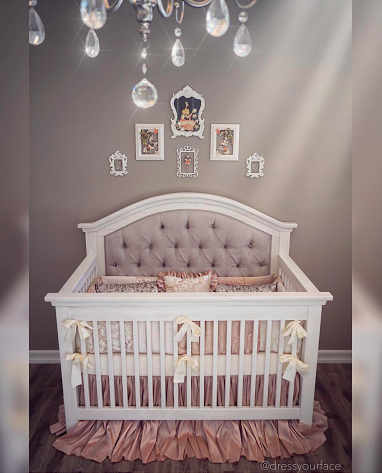 Gorgeous One Of A Kind Custom Tufted Convertible Crib With