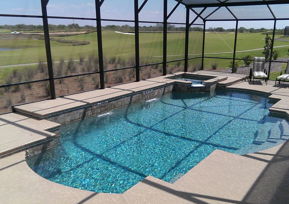 From Concept To Reality American Pools Spas Can Create Your Ideal Swimming Pool And Screen Encl Swimming Pools Inground Pool Houses Swimming Pool Enclosures