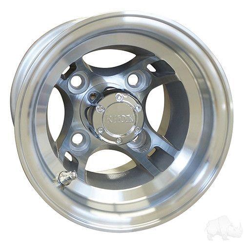 "RHOX Brickyard Machined Silver 8"" Aluminum Golf Cart Wheels"
