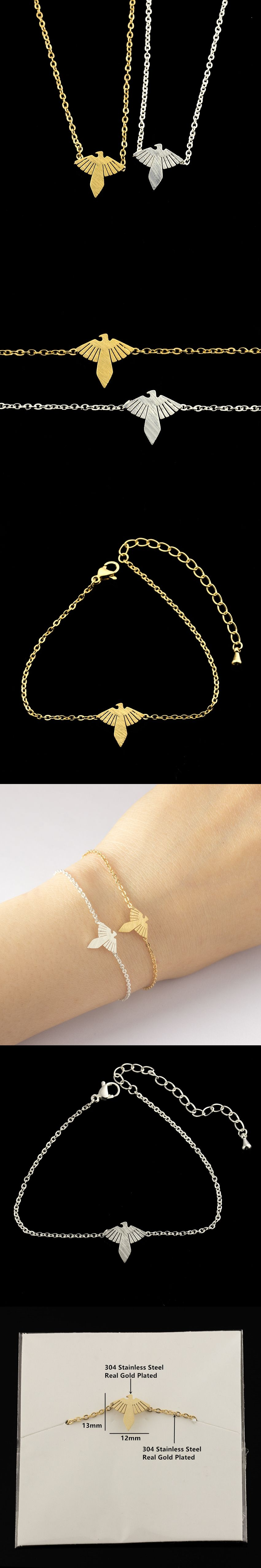 Lucky jewelry gold silver color delicate petite eagles bracelets
