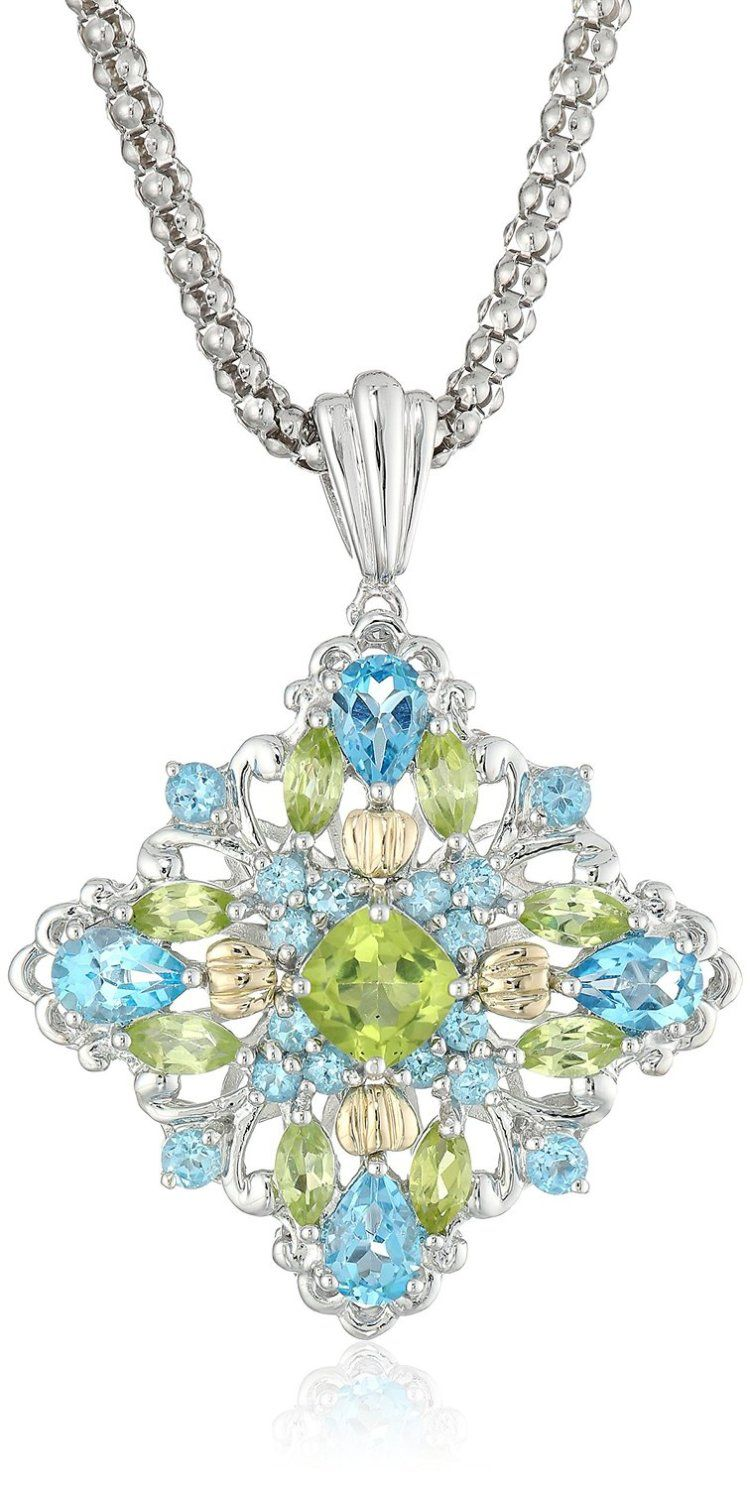 Sug sterling silver and k yellow gold blue topaz and peridot